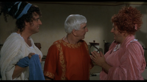 Cross-dressing and Leslie Nielsen in the historical farce S P Q R  (1994)