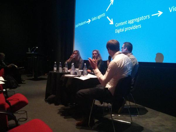 Roderik Smits in conversation with sales agents and distributors at the MeCETES industry event at the Danish Film Institute in Copenhagen on 9 September 2015.